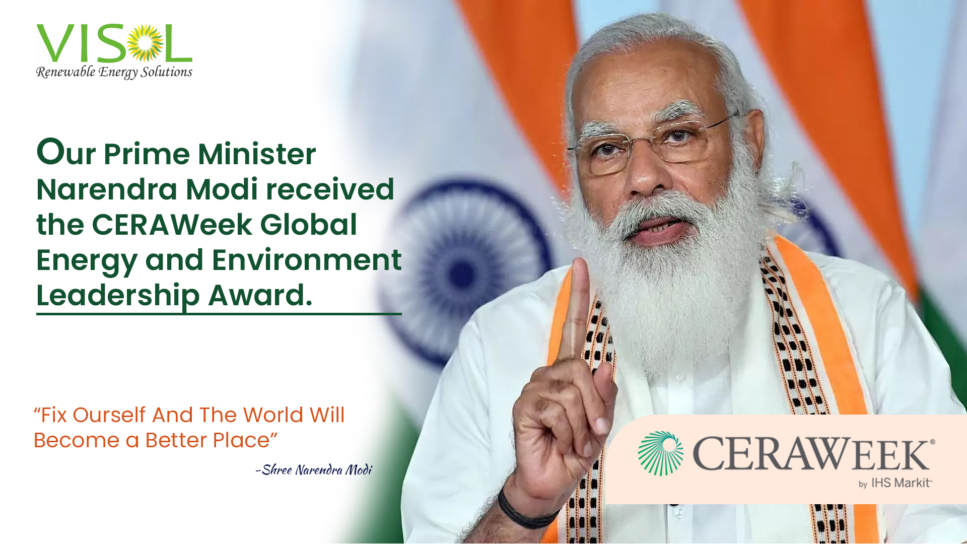Indian PM Received Global Energy and Environment Leadership Award by CERAWeek